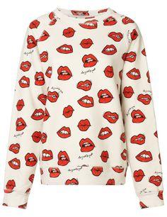 lips print sweatshirt