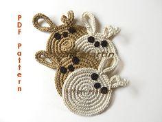 DIY PDF Pattern Crochet Coaster Bunnies Easter von MariMartin