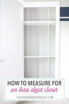 Home Decor- How to Measure for an IKEA ALGOT Closet. I've always wanted to use IKEA'S ALGOT closet system but had no idea where to start! This post breaks it down and makes it SO easy. Click over to see how to do it! Source by closet Ikea Closet System, Ikea Closet Hack, Closet Hacks, Kid Closet, Closet Bedroom, Closet Organization, Bathroom Closet, Diy Organisation, Bedroom Kids