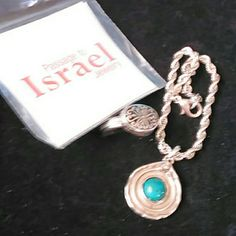 Turquoise bracelet and ring This is a turquoise bracelet in beautiful sterling silver ring from The Collection passage to Israel it is all stand 925 Israel both on the ring and the bracelet Jewelry Bracelets