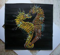 Pesci Ippocampi cavallucci marini tempera su carta di Stellangelo