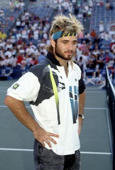 Andre Agassi during the 1990 U. Open Tennis Tournament in Flushing,. Tennis Shirts, Tennis Clothes, Nike Tennis, Tennis Tournaments, Tennis Players, Carros Lamborghini, Vintage Tennis, Tennis Fashion, Sports Stars
