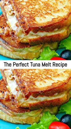 Croissant Sandwich, Tuna Melt Sandwich, Tuna Melts, Soup And Sandwich, Tuna Sandwich Recipes, Tuna Recipes For Dinner, Fish Recipes, Seafood Recipes, Gourmet Recipes