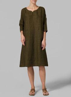Boast a heavenly look when you sport this durable heavy linen drop shoulder classic monk dress.