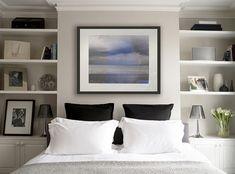 Faroe Road - traditional - bedroom - london - Laura Hammett Ltd Bedroom Alcove, Home Bedroom, Master Bedroom, Bedroom Decor, Bedroom Ideas, Bedroom Chimney Breast, Dispositions Chambre, Alcove Shelving, Minimal Bedroom