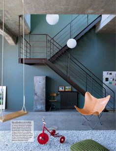 Industrial spirit in the house of Anne Hubert, The icing on the cake / industrial style Source by carreco Interior Stairs, Interior Architecture, Interior And Exterior, Home Design Decor, Interior Design Inspiration, Home Decor, Loft Design, House Design, Home Living Room