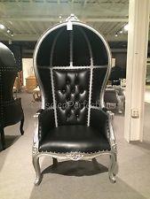 Silver & Black Porter chair, Balloon chair, Bonnet, Canopy chair, Dome Chair