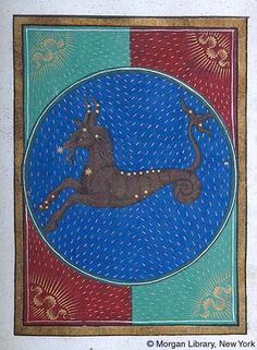 Zodiac Sign: Capricornus -- Hybrid goat. Figure decorated with stars, suggesting constellation, against blue background, suggesting sky, inside roundel within decorated frame. Book of Hours, MS G.14 fol. 18r