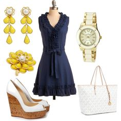 LOVE IT!!! Navy and yellow :) And I totally want those shoes and earrings!