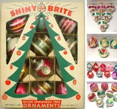Vintage Christmas Ornaments ~ Old Box of Shiny Brite Ornaments