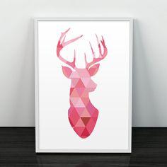 Hirsch Kontur, geometrisch, Poster, Dreiecke, minimalistisch, gedruckt Kunst, minimalistischen Hirsch, Hirsch geometrische