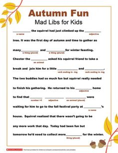 Get your child's imagination going for the new season ahead with help from this autumn fun Mad Libs printable. Thanksgiving Mad Lib, Thanksgiving Worksheets, Halloween Worksheets, Free Mad Libs, Mad Libs For Adults, Mad Lips, Harvest Party, Fall Fest, Autumn Activities