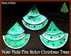 Paper Plate Fine Motor Christmas Trees