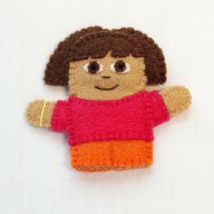 Dora the Explorer felt finger puppet, handmade by Joanne Rich