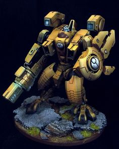 """""""40k - Tau Riptide Battlesuit by Myles David"""" Makes the riptide look pretty great (even the too small head doesn't look bad)"""