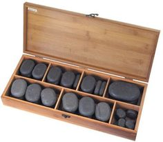 40-piece Massage Stones Set Therapeutic Basalt Hot Lava Rocks w/ Polished Box