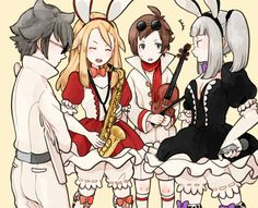 Tiz Arrior, Edea Lee,Yew Genealogia and Magnolia Arch (Bravely Default/Bravely Second)(art from tumblr)