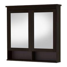 HEMNES Mirror cabinet with 2 doors - black-brown stain, 103x16x98 cm  - IKEA