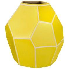 Linea Chartreuse ceramic angular vase (64 CNY) found on Polyvore