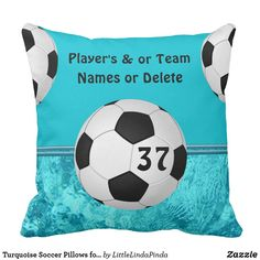 Shop Turquoise Soccer Pillows for Girls, Personalized created by LittleLindaPinda. Soccer Room Decor, Soccer Bedroom, Soccer Gifts, Team Gifts, Soccer Cards, Personalized Football, Team Names, Diy For Girls, Turquoise
