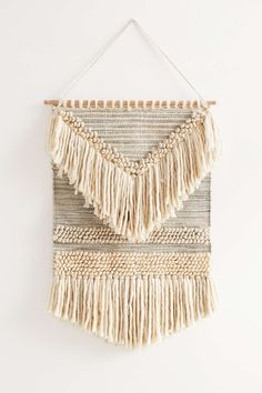 Magical Thinking Textured Shaga Wall Hanging - Urban Outfitters // I like the shape of this one with the arrow point facing downward Weaving Wall Hanging, Weaving Art, Tapestry Weaving, Loom Weaving, Tapestry Wall Hanging, Wall Hangings, Diy Wall Hanging, Magical Thinking, Deco Boheme