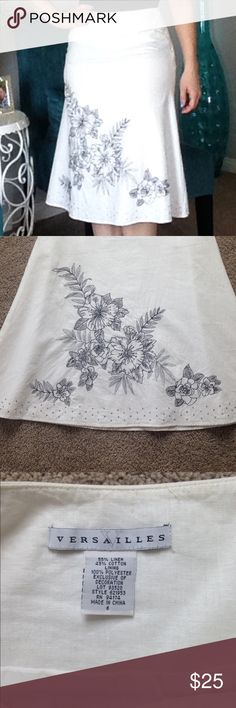 Linen skirt Adorable linen skirt with embroidery & beading detail. The beading at the bottom goes all the way around, the embroidery is only on the front. This is a beautiful piece!!! In like new condition, only worn twice!! Skirts
