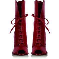 D&G Dolce&Gabbana | Red Patent Peeptoe Boots by D&G Dolce&Gabbana |... (1.715 BRL) ❤ liked on Polyvore featuring shoes, boots, ankle booties, heels, sapatos, footwear, peep toe heel boots, red heel booties, red ankle booties and peep toe boots