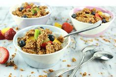 Peanut Butter Quinoa Crunch - Perfect on their own or topped over yogurt and oatmeal, this quinoa crunch makes choosing this wholesome snack an easy decision!