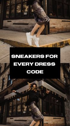 Not sure how to master the look? Find the formula here, and sneaker recommendations for each code of dress. How To Wear Sneakers, Dress With Sneakers, Business Casual Sneakers, Fashion Hacks, Fashion Bloggers, Fashion Tips, Nordstrom Gifts, Dress Codes, Everyday Fashion