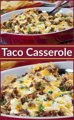 Our Taco Casserole is a simple, Mexican-inspired, ground beef recipe that everyone in your family will eat right up. It's got all the tasty taco fillings you and your family love. But best of all, you can make our Taco Casserole in advance, and heat Taco Casserole, Easy Casserole Recipes, Taco Bake, Mexican Casserole, Chicken Casserole, Easy Cheap Dinner Recipes, Healthy Dinner Recipes, Easy Meals, Kid Meals