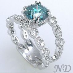 Beautiful Blue Diamond Engagement Ring ~ 35 Gorgeous Diamonds - Style Estate -