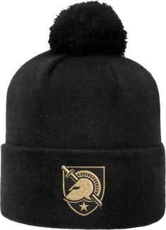 d500fb4c49e96b Top of the World Men's Army West Point Black Knights Army Black Pom Knit  Beanie