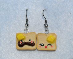 Mr. & Mrs. Toast Earrings with Mustache, Cute Kawaii Toast with Melted Butter. $4.99, via Etsy.