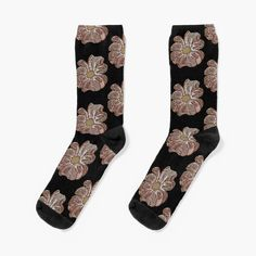 'Contour Flower Design' Socks by iouryRB