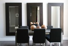 Use the large IKEA mirrors in master bedroom. contemporary dining room by Ieteke – Dining Room Furniture – Dining Room Ideas Living Room Mirrors, Dining Room Walls, Dining Room Furniture, Dining Area, Ikea Dining, Dining Table, Oversized Wall Mirrors, Framed Mirrors, Large Mirrors