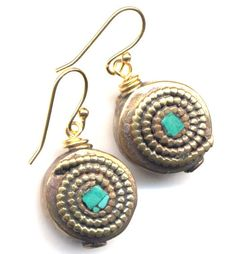 Nepal Turquoise Earrings,  Turquoise and Gold Earrings, Nepal Beads on 18K gold filled  Wire, Handmade Jewelry by AnnaArt72