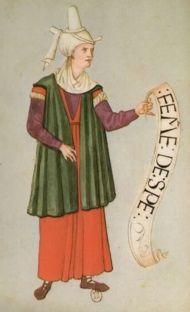 """Spe. """"Habits de femmes de diverses countres"""" Bibliotheque Nationale de Paris. early 16th c."""