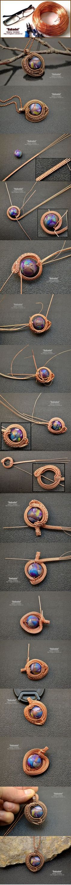 Jewelry made of wire with his hands. Pendant Wire Wrapping. | Crafts