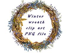 Watercolor winter wreath clip art rustic wreath clip art png elements hand draw floral clip art winter branches clip art