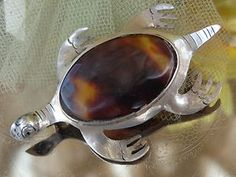VINTAGE SGD TAXCO 925 Sterling Silver Sea Turtle Genuine Tortoise Shell Brooch Pin