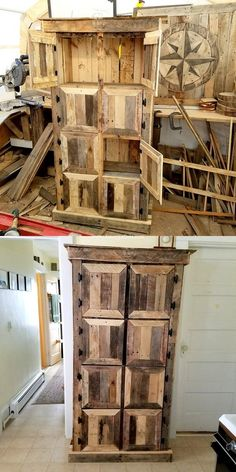 Recycled Pallets Ideas Easy And Unique DIY Pallets Hutch Master Plans Wooden Pallet Projects, Wooden Pallet Furniture, Pallet Crafts, Wooden Pallets, Furniture Ideas, Pallet Wood, Palette Furniture, Pallet Chair, Outdoor Pallet