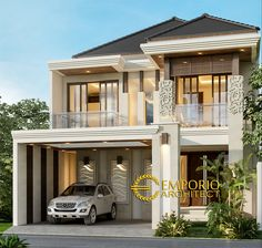 Fahmi Private House Design - Sidoarjo, Jawa Timur- Quality house design of architectural services, experienced professional Bali Villa Tropical designs from Emporio Architect. Model House Plan, House Plans, Modern House Philippines, Bali House, House 2, Small Villa, Philippine Houses, Modern Villa Design, House Front Design