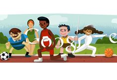 The doodle shows 5 athletes - incidentally also the number of rings in the Olympic logo - playing different Olympic sports. Google Doodles, London Olympic Logo, London Olympic Games, Art Google, Google Images, London Olympics Opening Ceremony, 2012 Summer Olympics, Videos, Hosting Website