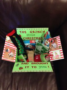 The Grinch Christmas Care Package that I made for Austin #2!