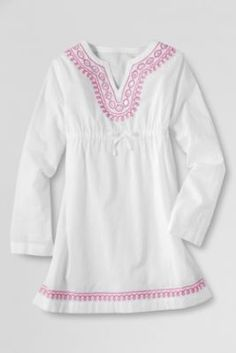 f094d755b45e9 Girls' Long Sleeve Embroidered V-neck Woven Tunic from Lands' End Happy  Birthday