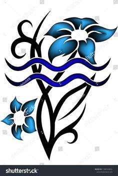 Tribal zodiac aquarius with blue flowers on white background Love Tattoos, Unique Tattoos, Tribal Tattoos, Thigh Tattoos, Tatoos, Taurus Bull Tattoos, Zodiac Tattoos, Aquarious Tattoo, Colorful Drawings