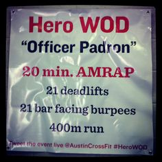 "Fit & Fearless CrossFit Hero WOD ""Officer Padron"" in Austin, Texas."