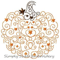 Scroll Pumpkin Machine Embroidery Design by SimplySweetEmbroider