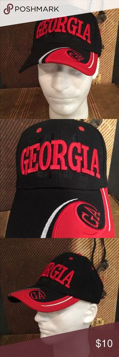Georgia Black Red Letters Hat Adjustable One Size This listing is for a Georgia GA Black and Red Embroidered Letters One Size Adjustable Strap.  See pictures.  New Without Tags (NWOT). Unbranded Accessories Hats
