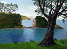 1968 Born Liverpool, UK Education: 1993 Otago University, BA Solo Justin Summerton is a NZ surrealist painter depicting a dreamlike world, who often presents New Zealand as a primeval landscape. New Zealand Art, Arts Award, Landscape Paintings, Island, World, Gallery, Beach, Artist, Photography